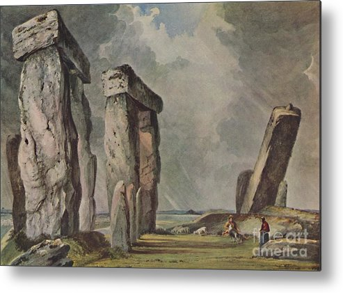 Unesco Metal Print featuring the drawing Stonehenge by Print Collector
