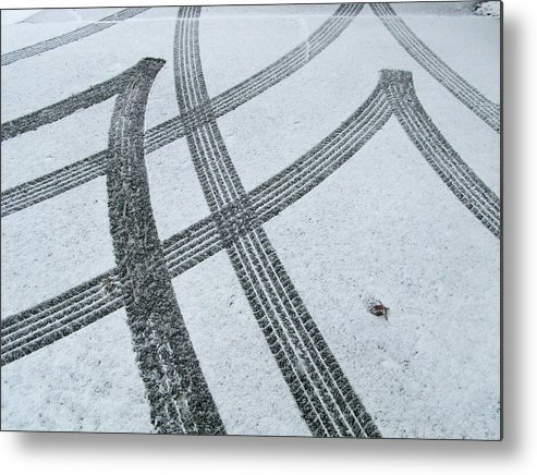 Black Color Metal Print featuring the photograph Tire Tracks In Snow, Winter by Jerry Whaley