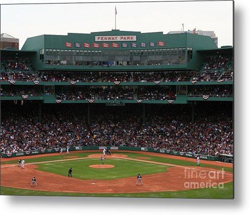 American League Baseball Metal Print featuring the photograph Toronto Blue Jays V Boston Red Sox by Travis Lindquist