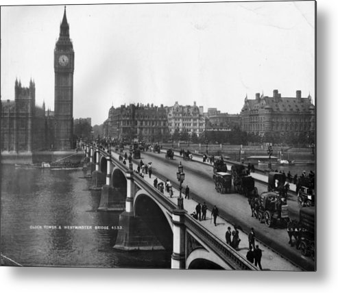 Clock Tower Metal Print featuring the photograph Westminster Bridge by London Stereoscopic Company