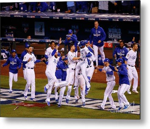 American League Baseball Metal Print featuring the photograph World Series - New York Mets V Kansas by Kyle Rivas
