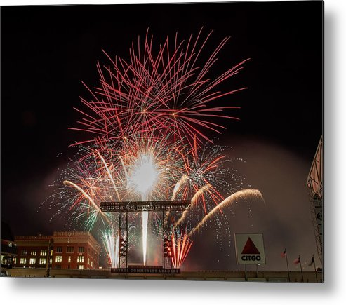 Firework Display Metal Print featuring the photograph Chicago White Sox V Houston Astros by Bob Levey