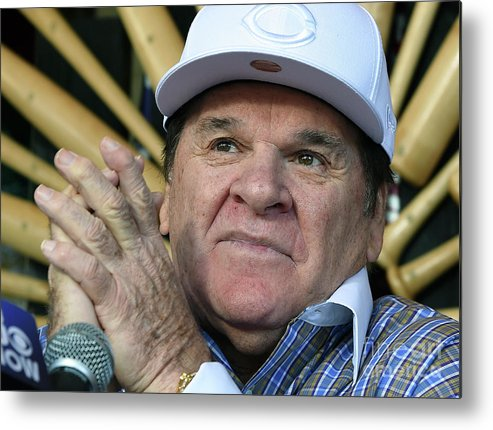 People Metal Print featuring the photograph Pete Rose Speaks To Media After by Ethan Miller