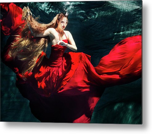 Ballet Dancer Metal Print featuring the photograph Female Dancer Performing Under Water by Henrik Sorensen