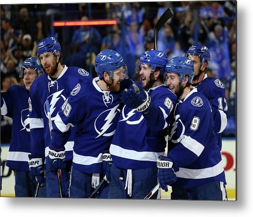 Playoffs Metal Print featuring the photograph New York Rangers V Tampa Bay Lightning by Bruce Bennett