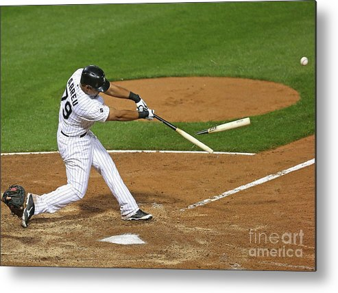 American League Baseball Metal Print featuring the photograph Los Angeles Angels Of Anaheim V Chicago by Jonathan Daniel