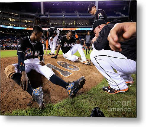 People Metal Print featuring the photograph New York Mets V Miami Marlins by Rob Foldy