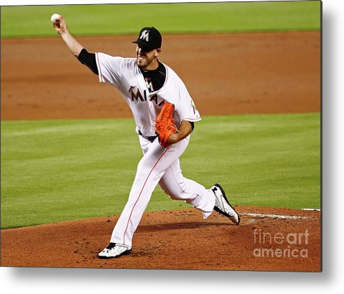 People Metal Print featuring the photograph Washington Nationals V Miami Marlins by Mike Ehrmann