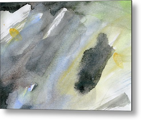 Gouache Metal Print featuring the digital art Abstract Watercolor Painted by Petekarici