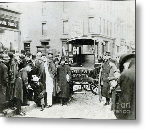Ambulance Metal Print featuring the photograph Ambulance Idling By Crowd by Bettmann
