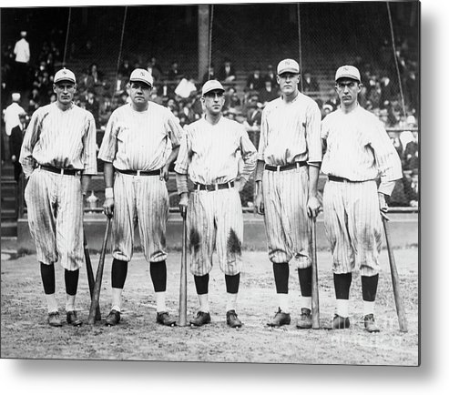 American League Baseball Metal Print featuring the photograph Babe Ruth Murderers Row 1921 by Transcendental Graphics