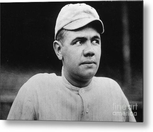 People Metal Print featuring the photograph Babe Ruth Portrait Boston 1916 by Transcendental Graphics
