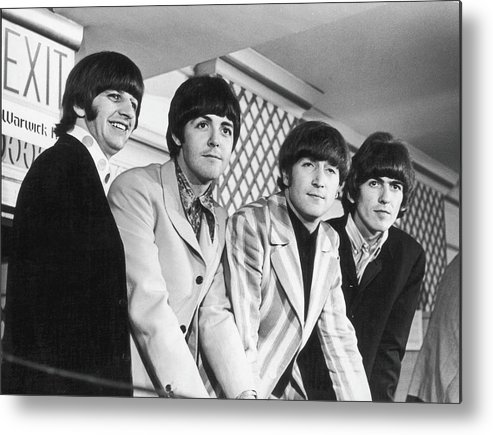 Rock Music Metal Print featuring the photograph Beatles Press Conference by Fred W. McDarrah