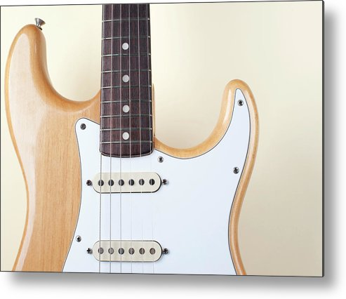 Rock Music Metal Print featuring the photograph Beige Wood Textured Electric Guitar by Neyya