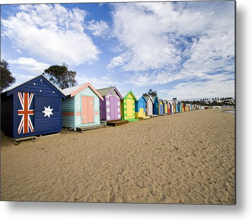 Steps Metal Print featuring the photograph Brighton Beach Huts by Samvaltenbergs