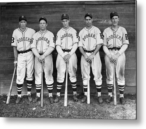 1930-1939 Metal Print featuring the photograph Brooklyn Dodgers Outfielders L. To R by New York Daily News Archive