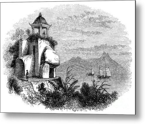 Macao Metal Print featuring the drawing Camoens Grotto, Macao, 1847. Artist by Print Collector