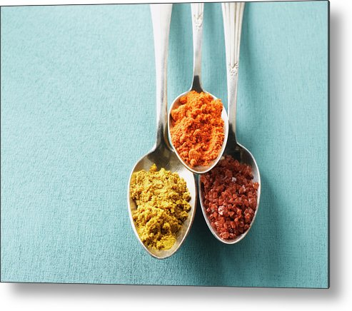 Spoon Metal Print featuring the photograph Cayenne Pepper, Curry Powder And Rock by Westend61