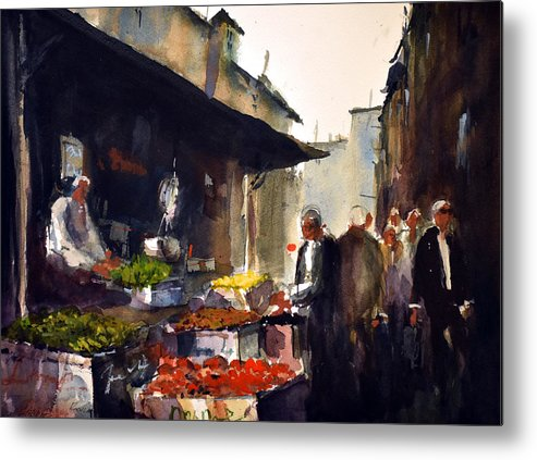 China Metal Print featuring the painting Chinatown Market by Charles Rowland