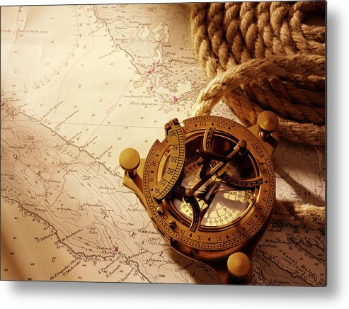 Rope Metal Print featuring the photograph Coiled Rope And Nautical Chart With A by Wragg