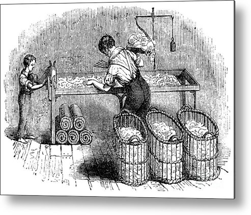 Working Metal Print featuring the drawing Cotton Manufacture, C1845 by Print Collector