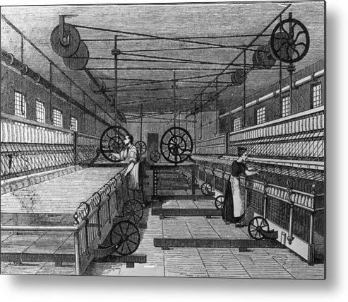 Spinning Wheel Metal Print featuring the digital art Cotton Mill by Hulton Archive