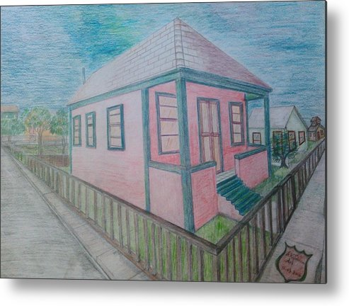 Drawing By Andrew Johnson Metal Print featuring the drawing Dream Cottage by Andrew Johnson