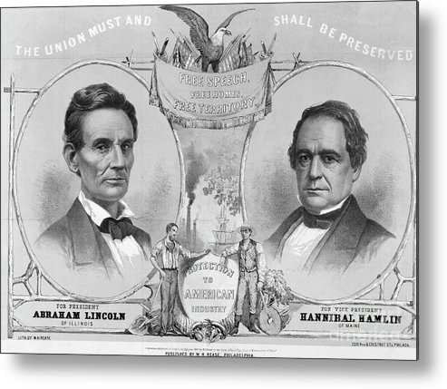 Art Metal Print featuring the photograph Election Poster With Abraham Lincoln by Bettmann