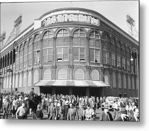 Following Metal Print featuring the photograph Fans Leave Ebbets Field by David E. Scherman