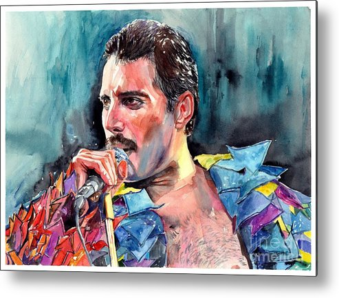 Freddie Metal Print featuring the painting Freddie Mercury, New York City 1983 by Suzann Sines