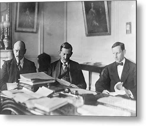 Versailles Metal Print featuring the photograph German Envoy Going Over Documents by Bettmann