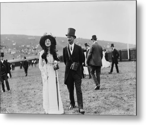 Veil Metal Print featuring the photograph Goodwood Racegoers by W. G. Phillips