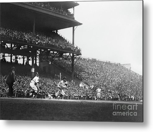 Crowd Of People Metal Print featuring the photograph Goose Goslin Batting During 1925 World by Bettmann