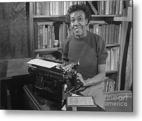 People Metal Print featuring the photograph Gwendolyn Brooks With Typewriter by Bettmann