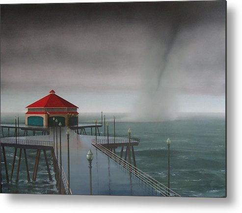 Huntington Beach Metal Print featuring the painting Huntington Beach Pier waterspout by Philip Fleischer