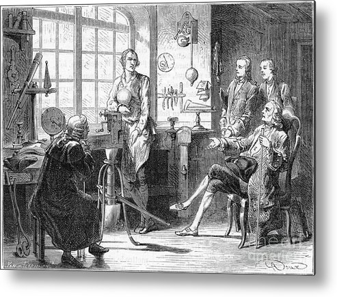 Event Metal Print featuring the drawing Joseph Black Visiting James Watt by Print Collector