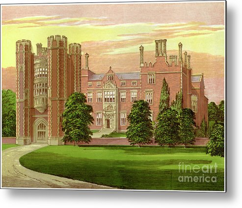Engraving Metal Print featuring the drawing Kirtling Tower, Cambridgeshire, Home by Print Collector