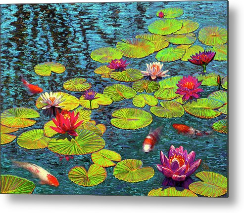 Lily Pond & 4 Koi Metal Print featuring the painting Lily Pond & 4 Koi by Wil Cormier