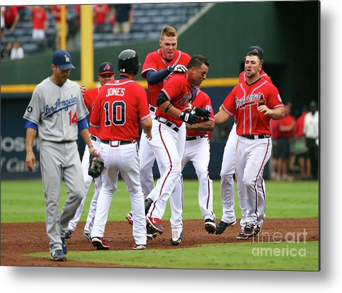 Atlanta Metal Print featuring the photograph Los Angeles Dodgers V Atlanta Braves by Joe Murphy