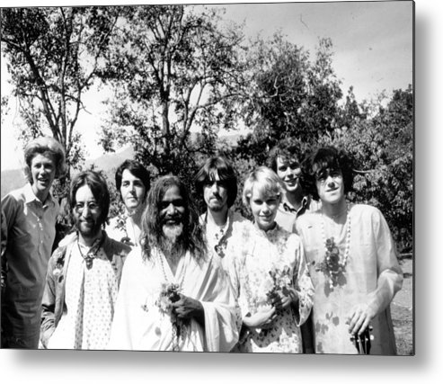Following Metal Print featuring the photograph Maharishi And Pop Stars by Keystone Features