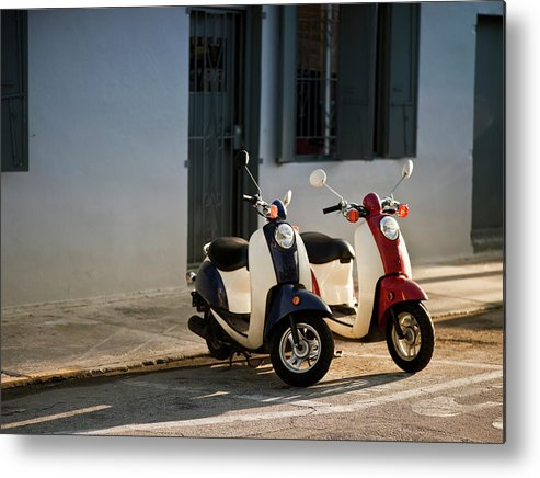 In A Row Metal Print featuring the photograph Motorbikes Parked On The Road by Pgiam