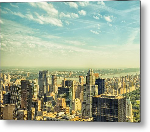 Lower Manhattan Metal Print featuring the photograph New York City Skyline With Central Park by Franckreporter