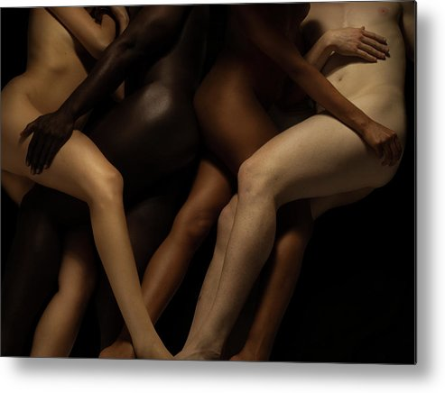 Young Men Metal Print featuring the photograph Nude Bodies In Different Skin Colours by Jonathan Knowles