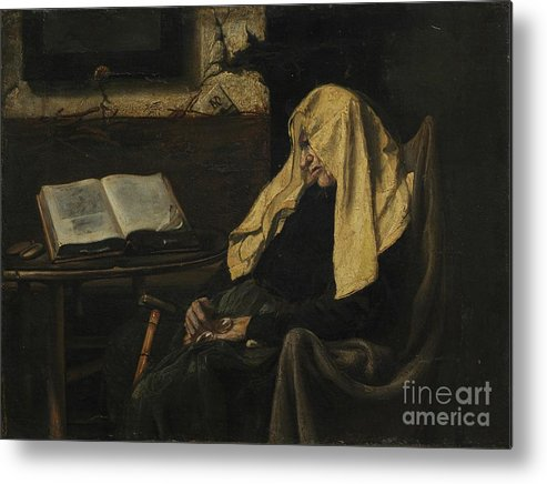 Senior Women Metal Print featuring the drawing Old Woman Asleep by Heritage Images