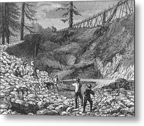 Engraving Metal Print featuring the photograph Prospectors Making Claim In Gold Rush by Hulton Archive