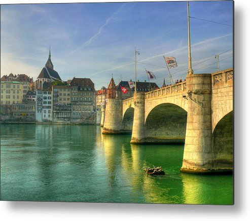Outdoors Metal Print featuring the photograph Rhine Bridge In Basel by Richard Fairless