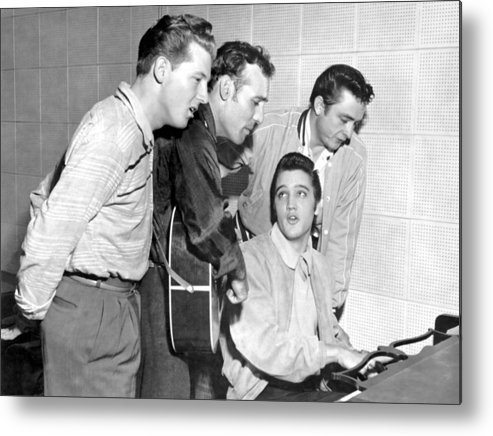 1950-1959 Metal Print featuring the photograph Rock And Roll Musicians Jerry Lee by Michael Ochs Archives