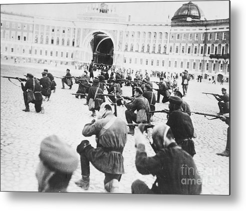 Rifle Metal Print featuring the photograph Russian Soldiers Firing Rifles by Bettmann