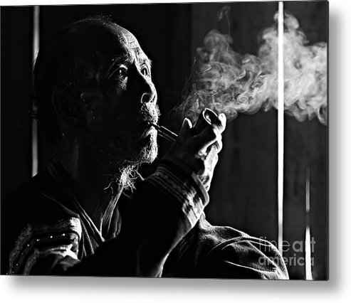 Asian And Indian Ethnicities Metal Print featuring the photograph Senior Man Smoking Pipe, Vietnam by Tran Anh Linh