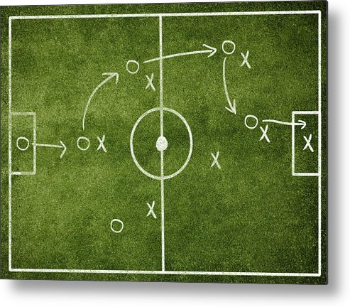 Rectangle Metal Print featuring the photograph Soccer Strategy by Goldmund